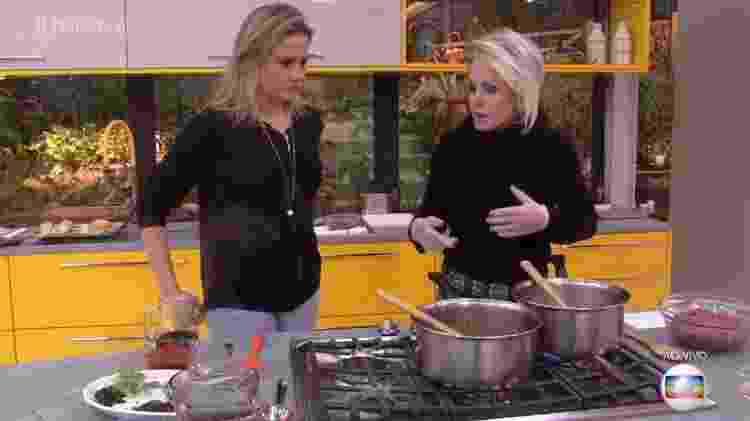 """Ana Maria ensina Fernanda Gentil a preparar carne moída no """"Mais Você"""" - Reprodução/Globo - Reprodução/Globo"""