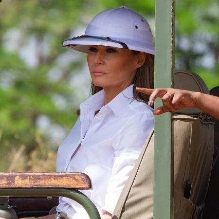 Melania Trump usou capacete relacionado a colonizadores e que é considerado ofensivo nos países africanos - Reprodução/Twitter
