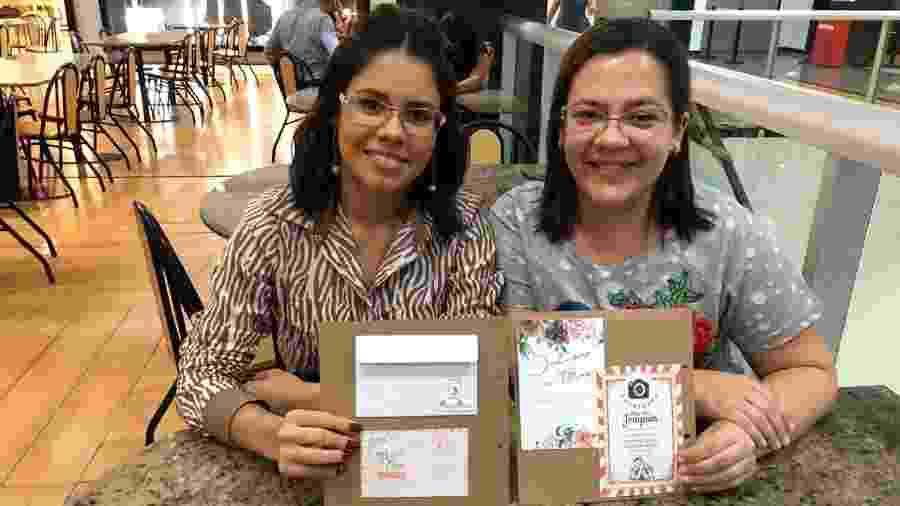 """Raysa Liandra e Lília Tenório desenvolveram um """"papel semente reciclado"""" que gera mudas de diversas plantas  - Divulgação"""