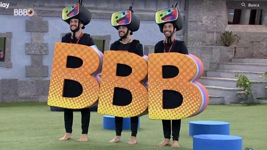 BBB 21: Arthur, Caio e Gilberto tiram foto no castigo do monstro - Reprodução/ Globoplay