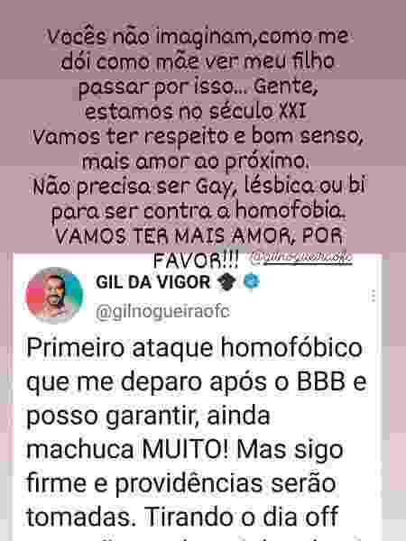 Mãe de Gilberto lamenta ataque homofóbico ao filho - Reprodução/Instagram - Reprodução/Instagram