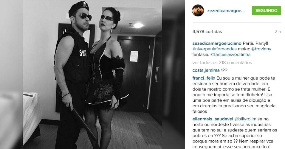 25.ago.2015 - Zezé Di Camargo  Graciele Lacerda capricharam na sensualidade na noite desta terça-feira. Vestido de policial, o cantor sertanejo foi com a namorada à festa de aniversário de 31 anos da cantora Paula Fernandes