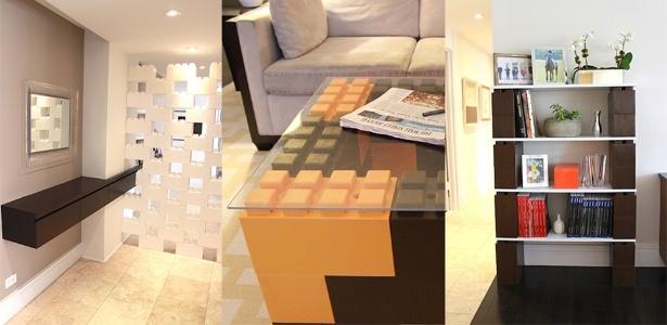 A divisória, a mesa de centro e a estante são exemplos de peças feitas com os blocos - Divulgação/ EverBlock Systems