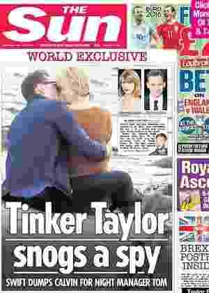 """Capa do jornal """"The Sun"""" mostra Taylor Swift aos beijos com o ator Tom Hiddleston - Reprodução/TheSun"""