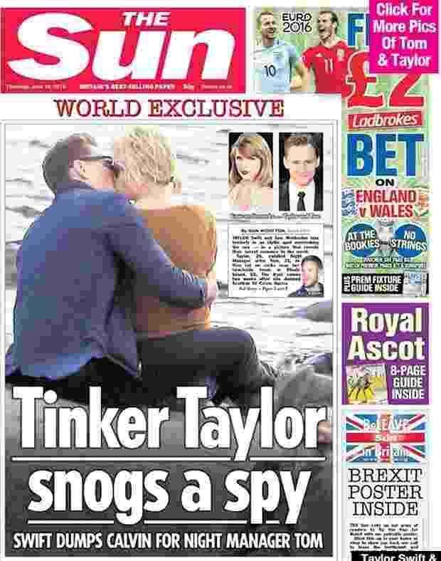 """15.jun.2016 - Capa do jornal """"The Sun"""" mostra Taylor Swift aos beijos com o ator Tom Hiddleston - Reprodução/TheSun"""