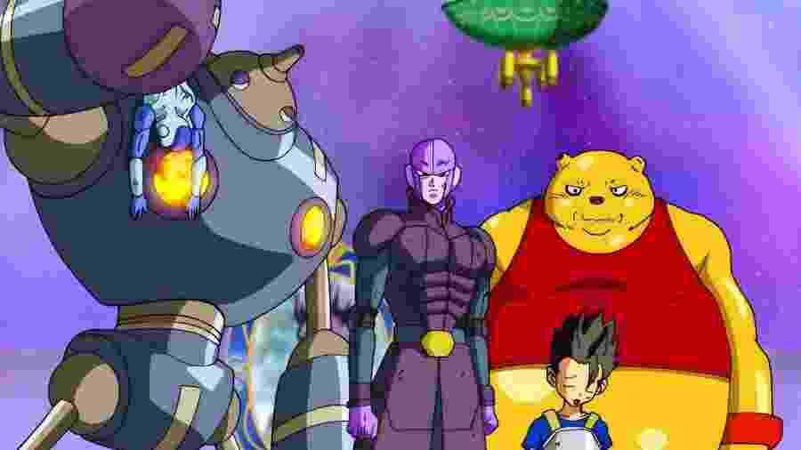 """Além destes da imagem e de Caulifla e Kale, Universo 6 ainda """"escondia"""" três guerreiros; seus rostos apareceram pela primeira vez no episódio 102 de """"Dragon Ball Super"""" - Reprodução"""