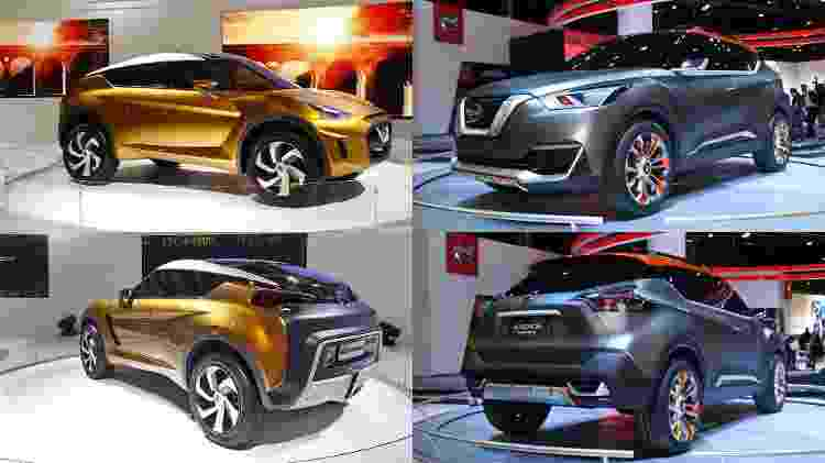 Mosaico das duas fases de conceito do Nissan Kicks - Murilo Góes/Folhapress/Arte UOL Carros - Murilo Góes/Folhapress/Arte UOL Carros