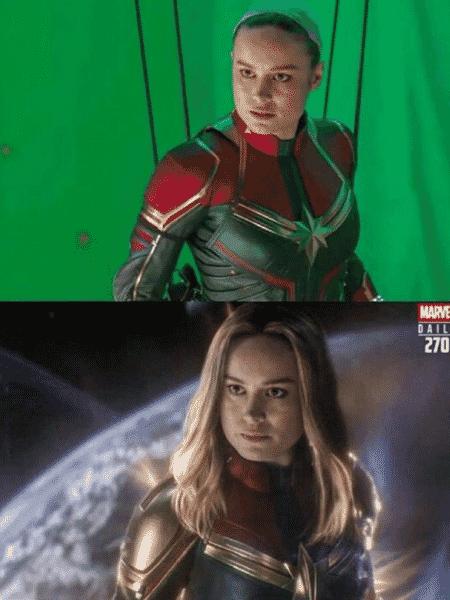 O antes e depois da Capitã Marvel em Vingadores: Ultimato - Reprodução