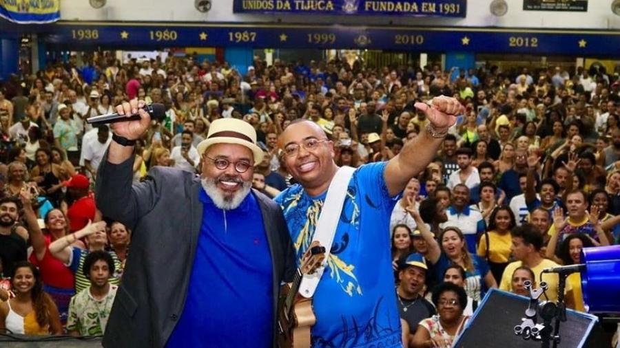 Dudu Nobre com Jorge Aragão em evento na quadra da Tijuca  - Divulgação