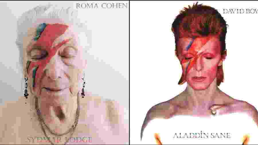 """Moradora da casa de repouso Sydmar Lodge, na Inglaterra, posa para recriação da capa do álbum """"Aladdin Sane"""" de David Bowie - Reprodução/Twitter"""