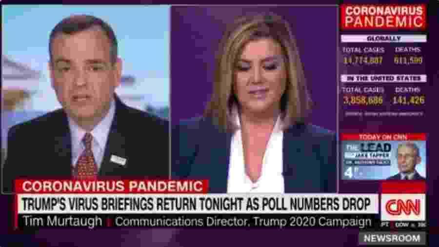 Brianna Keilar, âncora da CNN americana interrompe Tim Murtaugh, assessor de Trump, após ele defender a cloroquina - Reprodução