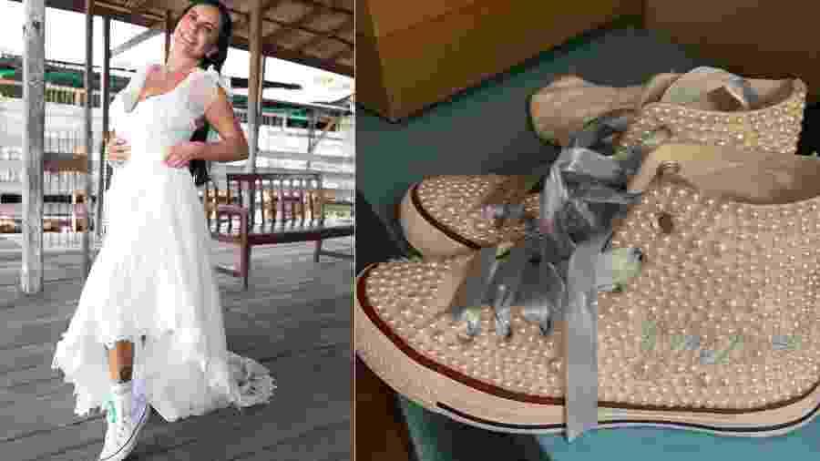Gretchen usou um Converse moderninho para o casamento com Esdras de Souza - Reprodução/Instagram