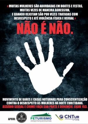 Cartaz da campanha de Curitiba contra o desrespeito às mulheres  - Divulgação