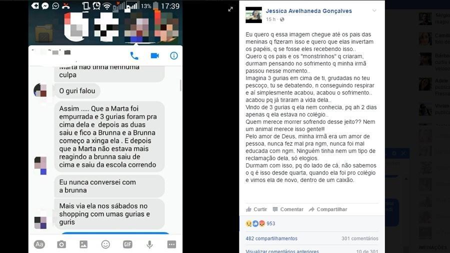 Post feito por Jessica Avelhaneda Gonçalves pedindo justiça para a morte de sua irmã - Reprodução/Facebook