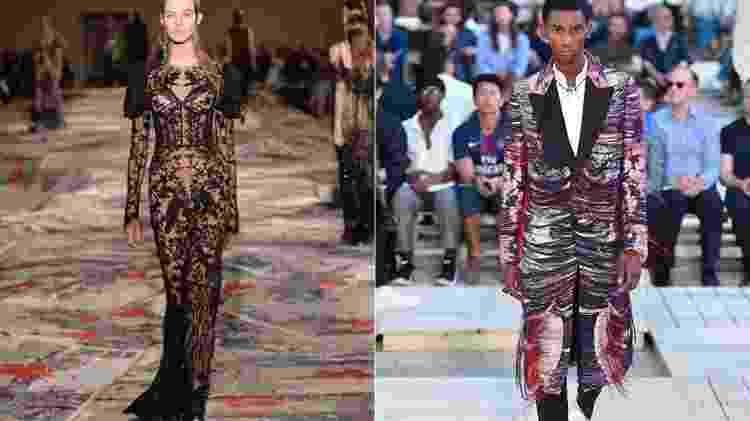 Tapete no desfile da coleção feminina da Alexander McQueen (à esq.) e a transformação em casaco masculino na Semana de Paris (à dir.) - Reprodução/Instagram/Getty Images - Reprodução/Instagram/Getty Images