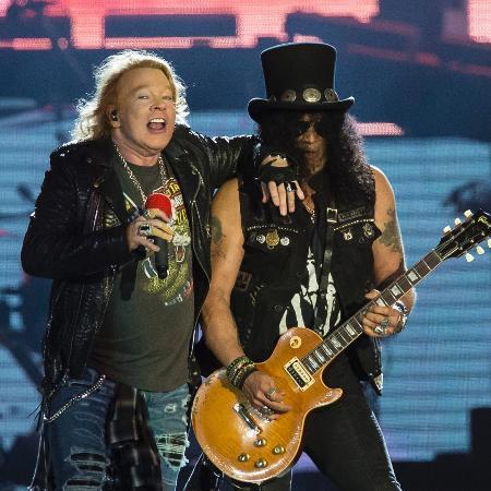 """Axl Rose e Slash, os pilares do Guns N"""" Roses, lado a lado no Rock in Rio - Bruna Prado/UOL"""