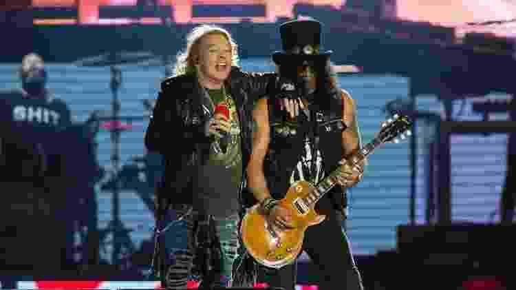 Axl Rose e Slash, os pilares do Guns N'Roses, lado a lado no Rock in Rio - Bruna Prado/UOL - Bruna Prado/UOL