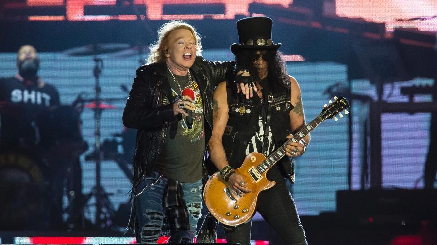 """Axl Rose e Slash, os pilares do Guns N""""Roses, lado a lado no Rock in Rio - Bruna Prado/UOL"""