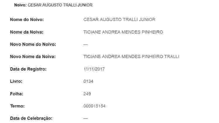 Certidão de casamento de César Tralli e Ticiane Pinheiro - Reprodução - Reprodução