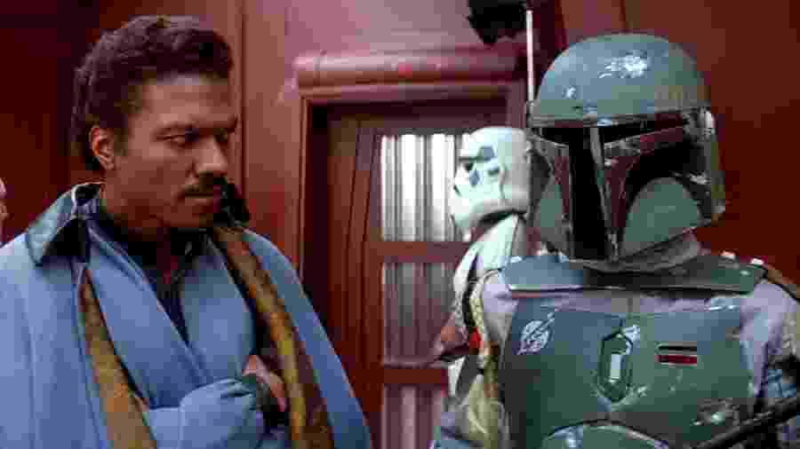 """Lando Calrissian e Boba Fett, dado como morto em """"O Retorno de Jedi"""" (1983) - Reprodução/YouTube"""