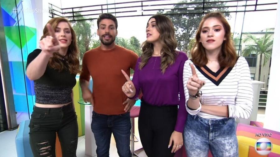 Cauã Reymond ao lado de Sophia Abrahão, Vivian Amorim e Ana Clara  - Reprodução/Globo