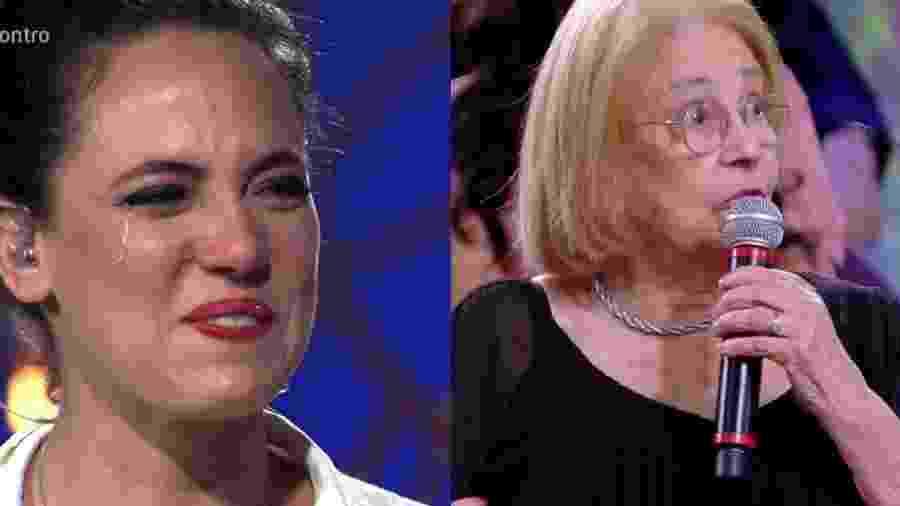 Tiê chora ao rever gravação da avó - Reprodução/Globo/Montagem UOL