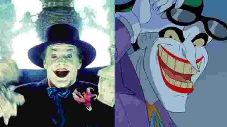 Jack Nicholson como Coringa no filme de Tim Burton em 1989 e o personagem na série animada, onde era dublado por Mark Hamill - Divulgação/Montagem UOL