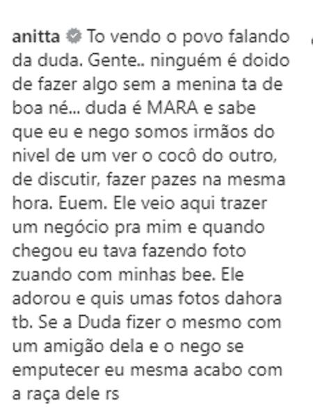Anitta comentário - Reprodução/Instagram @negodoborel - Reprodução/Instagram @negodoborel