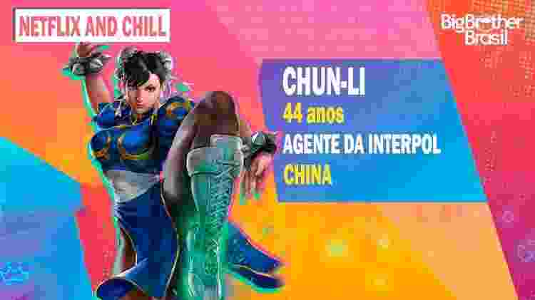 Chun-Li no BBB - Montagem: Allan Francisco / Divulgação (Capcom) - Montagem: Allan Francisco / Divulgação (Capcom)