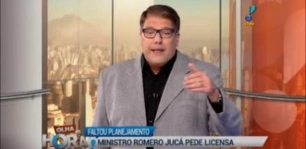 """Erro em GC na RedeTV!: """"Romero Jucá pede licensa"""" - Reprodução/RedeTV!"""