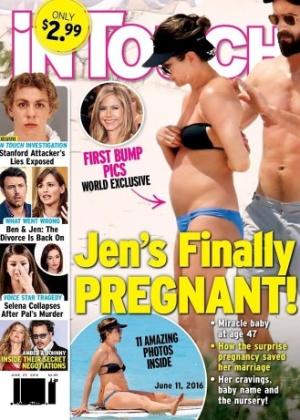 """Em junho, revista """"In Touch"""" divulgou capa que diz que Jennifer Aniston """"finalmente está grávida"""" - Reprodução/In Touch"""