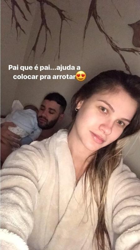 Andressa Suita mostra Gusttavo Lima cuidando do filho, Gabriel                           - Reprodução/Instagram