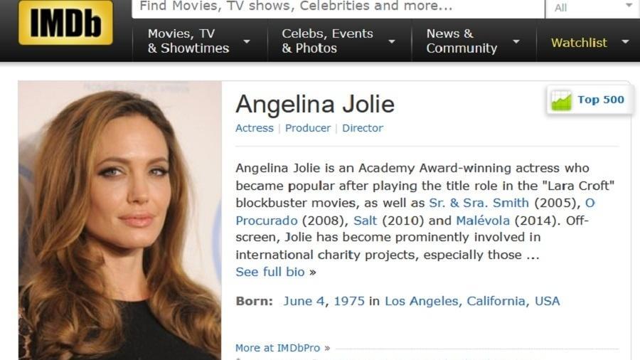"""Página da atriz Angelina Jolie no site """"IMDb"""" - Reprodução"""