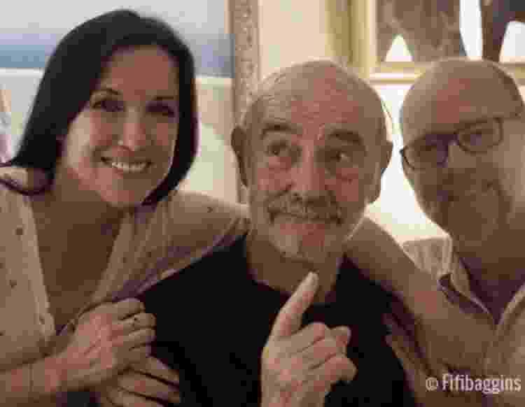 Sean Connery em foto de seu aniversário de 89 anos, em agosto de 2019, com o filho Jason e a nora Fiona Ufton - Reprodução/Instagram - Reprodução/Instagram