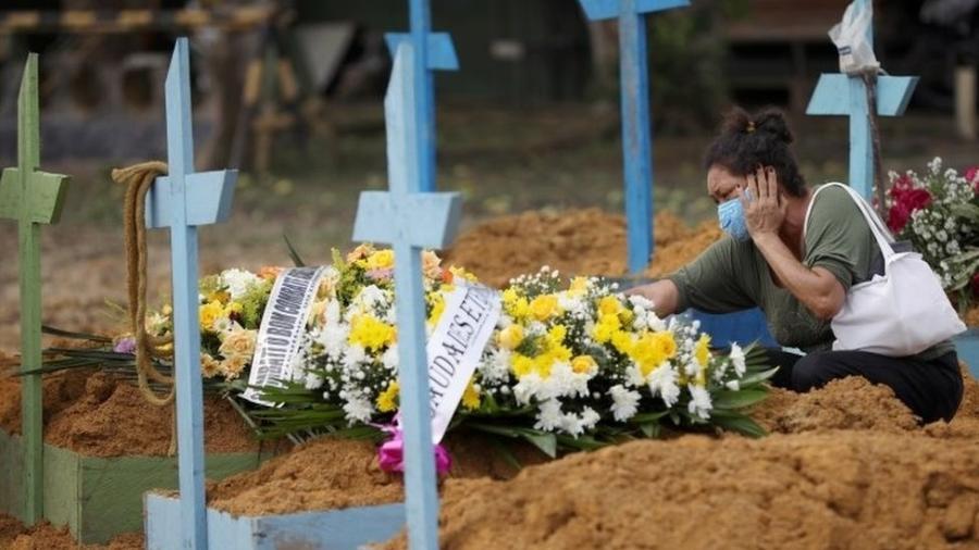 Vítima de covid-19 é enterrada em cemitério, em Manaus - Reuters