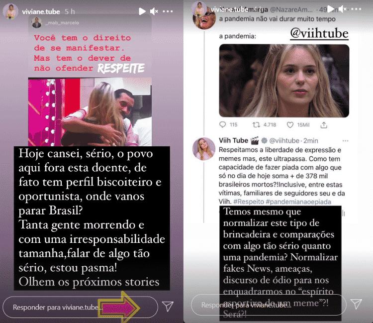 BBB 21: Mãe de Viih Tube reclama de memes sobre a pandemia com a filha - Reprodução / Instagram @viviane.tube - Reprodução / Instagram @viviane.tube