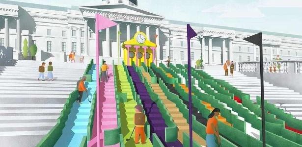 Um dos campos de golfe sobe as escadarias do museu National Gallery - Divulgação/The London Design Festival