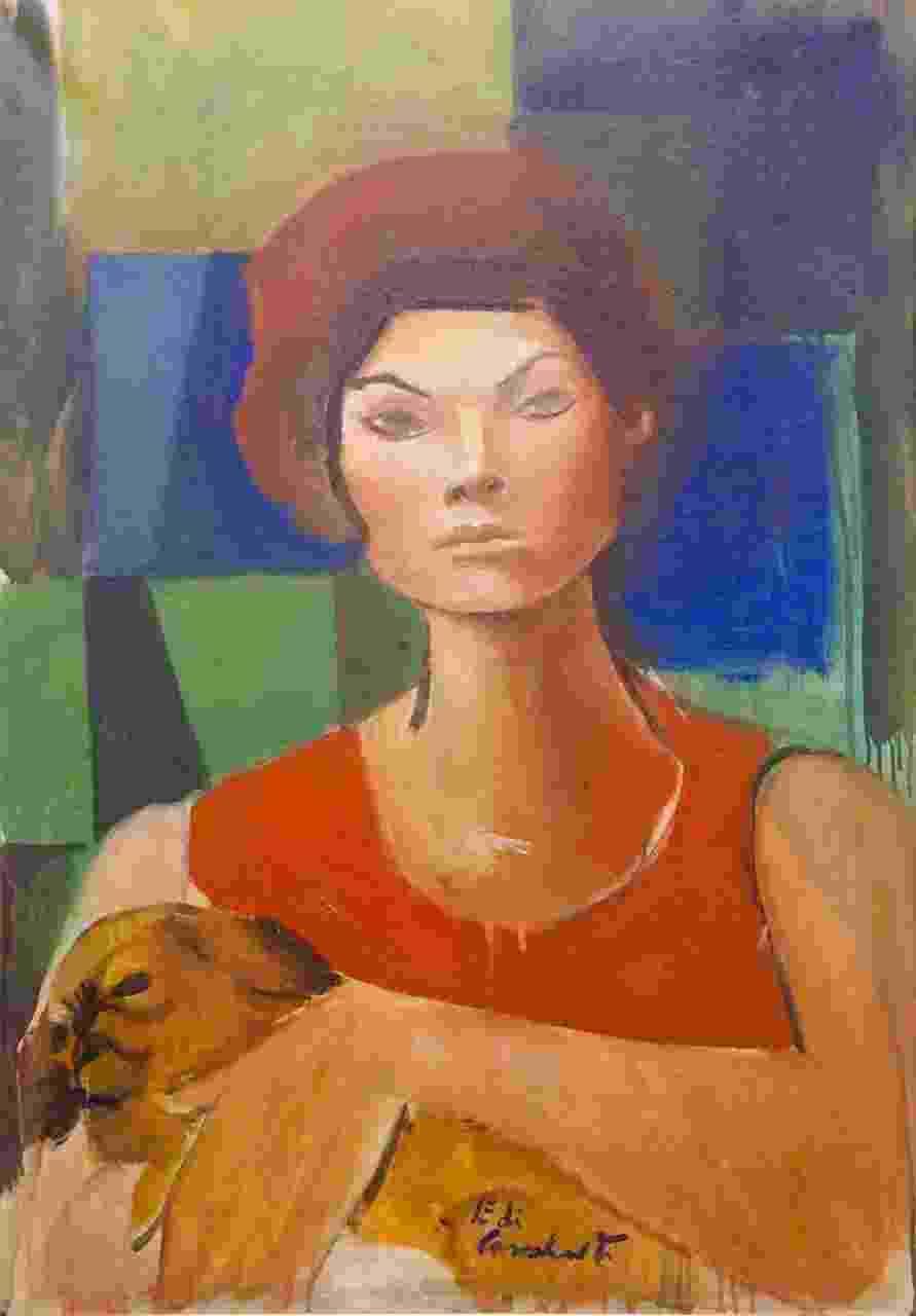 Mulher com cachorro de Emiliano Di Cavalcanti (1955), tela 65 x 45 cm. Lance inicial: R$ 300 mil - Divulgação