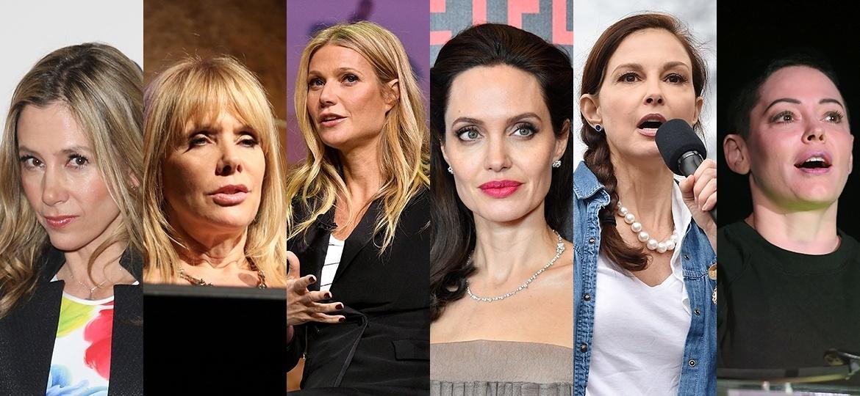 Algumas das atrizes que relataram terem sofrido assédios e abusos nas mãos do produtor Harvey Weinstein - Montagem sobre Getty Images