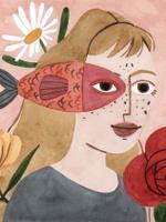 Ilustração de uma personagem representando o signo de Peixes. Vestida com camisa na cor cinza, a personagem possui forma humana, enquadramento de busto e está posicionada de lado. Na cabeça, por cima dos cabelos longos e claros, um peixe vermelho na altura dos olhos. O fundo da imagem é rosa claro, acompanhado por algumas flores vermelhas e margaridas brancas.