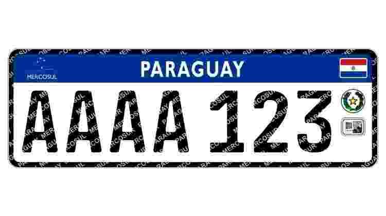 Versão paraguaia traz as 4 letras em sequência, além de holograma e QR Code na parte inferior direita - Reprodução