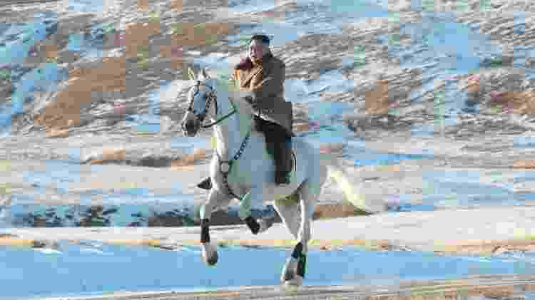 Kim Jong-un no Mount Paektu em outubro - AFP