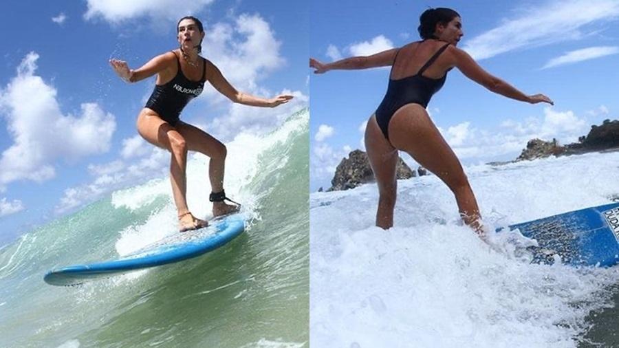 Fê Paes Leme surfa impressionou os seguidores ao aparecer pegando ondas - Reprodução/Instagram