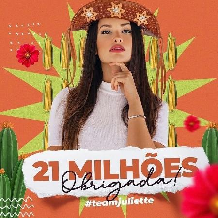 BBB 21: Perfil de Juliette comemora 21 milhões de seguidores - Reprodução/Instagram