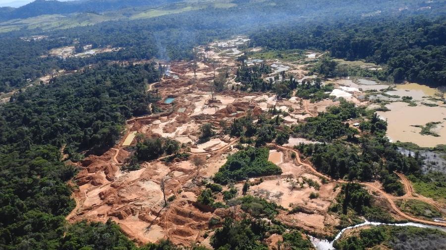 Área de mineração ilegal na divisa da Terra Indígena Kayapó - Rede Xingu+/divulgação.