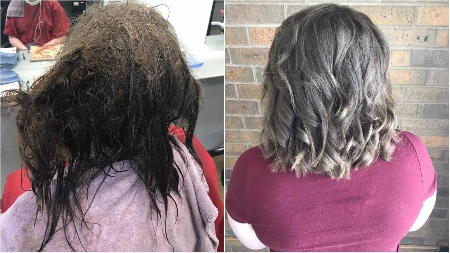 Em depressão, adolescente pediu para raspar todo o cabelo emaranhado, mas a cabeleireira cuidou dele - Kayley Olsson/Capri College