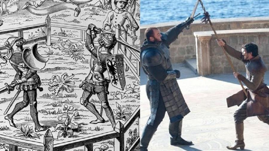 A luta entre Montanha e Oberyn Martell na série ilustra os julgamentos por combate de tempos medievais - Getty Images/HBO