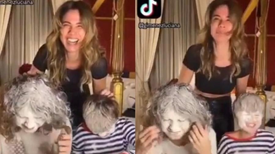 """Luciana Gimenez com os filhos Lucas e Lorenzo no """"Desafio da Farinha"""" - Reprodução/TikTok"""