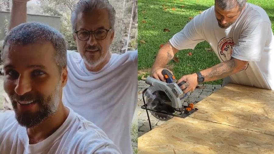 Bruno Gagliasso e o sogro, Roberto Baldacconi, constroem casa na árvore - Reprodução/Instagram