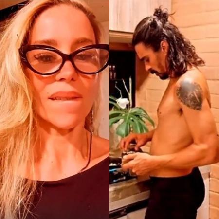 Danielle Winits exibe André Gonçalves cozinhando de cueca - Reprodução / Instagram